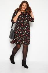 Black & Red Floral Swing Dress