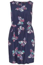 Navy Butterfly Print Pocket Skater Dress