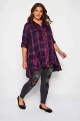 Navy & Pink Check Shirt With Extreme Dipped Hem