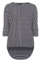 Navy Striped Extreme Dipped Hem Top