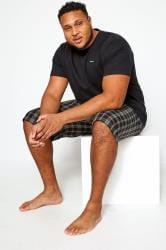 FARAH Black & Grey Check Lounge Shorts