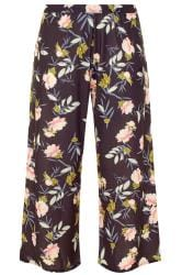 YOURS LONDON Black Floral Slinky Wide Leg Trousers