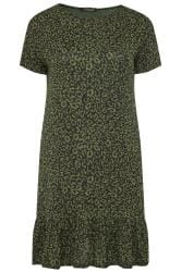 LIMITED COLLECTION Khaki Animal Print Frill Hem Dress