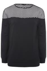 LIMITED COLLECTION Black Fishnet Panel Sweatshirt