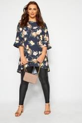 YOURS LONDON Navy Floral Flute Sleeve Tunic