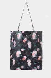 Black Floral Fold Up Shopper Bag