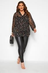 YOURS LONDON Black Floral Crinkle Chiffon Overhead Blouse
