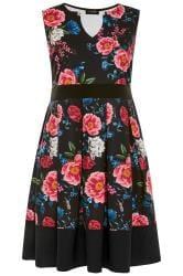 Black & Pink Floral Skater Dress