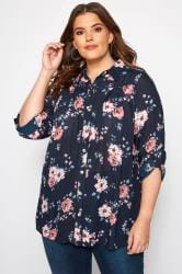 Navy & Pink Floral Crinkle Shirt