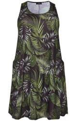 Green Palm Leaf Drape Pocket Dress