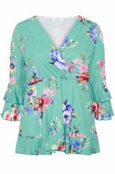 YOURS LONDON Turquoise Floral Wrap Top