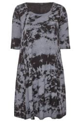 Black Tie Dye Drape Pocket Dress