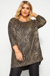 Gold Foil Swirl Extreme Dipped Hem Top