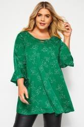 Green Floral Lattice Top
