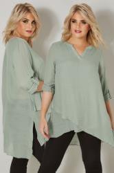 Grüne mehrlagige Bluse mit Kerbhalsausschnitt & Stufensaum