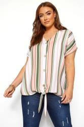 Green & Pink Stripe Tie Front Blouse