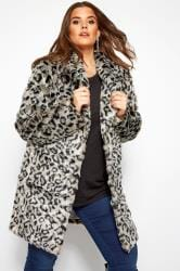 Grey Animal Faux Fur Coat