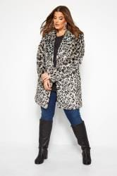 Grey Animal Faux Fur Coat