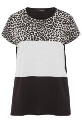Grey Animal Print Colour Block Top