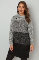 Grey & Black Cable Knit Tunic Dress With Split Neck & Pockets
