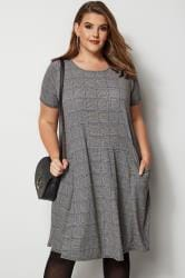 Grey & Blue Check Drape Pocket Dress