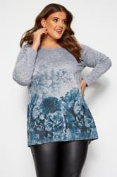 Grey & Blue Marl Floral Knitted Top