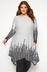 Grey Stripe Border Hanky Hem Dress