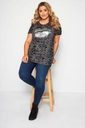 Grey Burnout Lips Print Foil T-Shirt