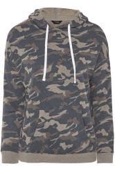 Hoodie van jersey met camouflage print in grijs