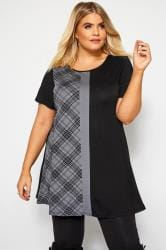 Grey Check Colour Block T-Shirt