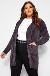 Grey Chenille Knitted Cardigan