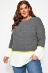 Grey & Cream Colour Block Jumper