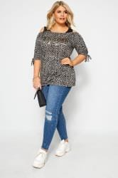 Grey Foil Slogan Animal Print Cold Shoulder Top