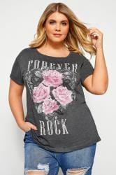 Grey 'Forever Rock' Slogan Rock T-Shirt