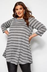 Grey Marl Metallic Stripe Tunic