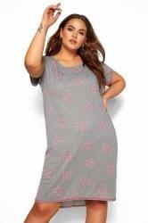 Nachthemd met hartjesprint en lange achterkant in grijs