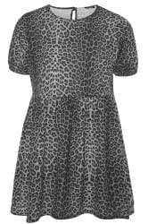 LIMITED COLLECTION Grey Leopard Print Peplum Smock Top