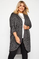 Grey Leopard Print Cocoon Cardigan