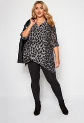 Grey Leopard Print Double Layered Blouse