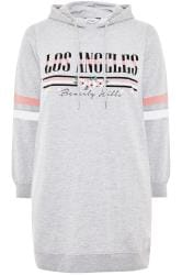 Grey 'Los Angeles' Slogan Longline Hoodie