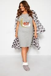 Grey Marl Fox and Moon Nightdress