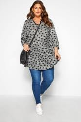 Grey Marl Heart Print Swing Top
