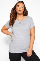 Grey Marl Mock Pocket T-Shirt