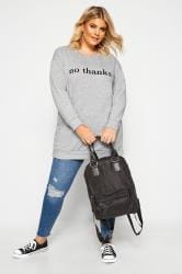 Grey Marl 'No Thanks' Slogan Sweatshirt