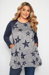 Grey Marl Star Print Longline Top
