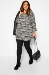 Grey Marl Striped Longline Top With Zip Front