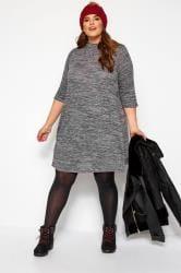 Grey Marl Turtleneck Dress