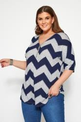 Grey & Navy Chevron Zip Neck Knitted Top