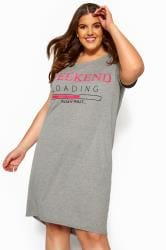 Grey & Neon Pink 'Weekend Loading' Slogan Nightdress