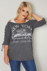 Grey 'New York' Bardot Top With Eyelet Lattice Sleeves